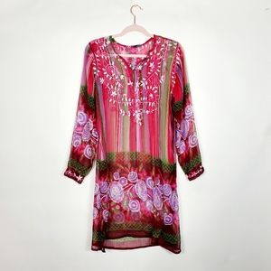 Raj Silk Embroidered Tunic Cover Up Dress Medium